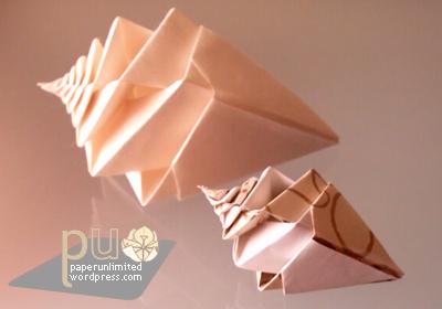 2 origami spiral shellfish