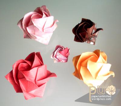 Origami Kawasaki Roses | Gilad's Origami Page | 350x400